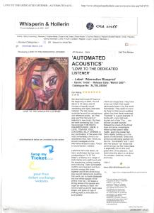 "Whisperin' & Hollerin' Review of the album ""Love To The Dedicated Listener"" by Automated Acoustics. ALTBLUE004  Alternative Blueprint Records"