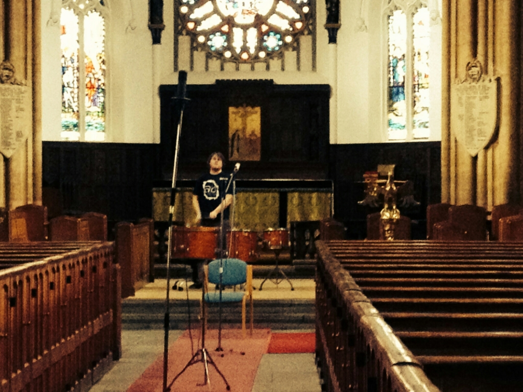 recording big drums in a church for trailer music